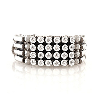 Jessica Simpson Silvertone and Clear Stone Stretch Bracelet