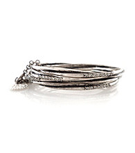 Jessica Simpson Silvertone Bangle Bracelet Set