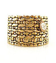 Jessica Simpson Goldtone Textured Stretch Bracelet
