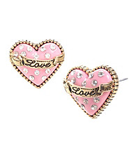 Betsey Johnson® Pink Glitter Heart Stud Earrings