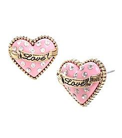 Betsey Johnson® Pink Glitter Heart Stud Earrings