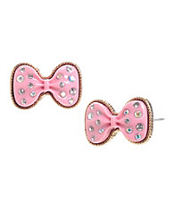 Betsey Johnson® Pink Glitter Bow Stud Earrings