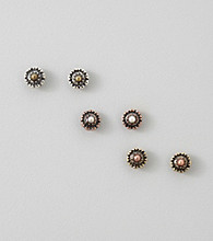 Nine West Vintage America Collection® Oxidized Silver and Brass Flower Button Trio Earring Set
