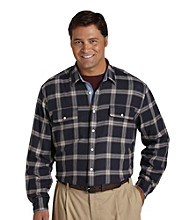 Nautica® Men's Big & Tall Navy Saturated Tartan Plaid Button Down Shirt