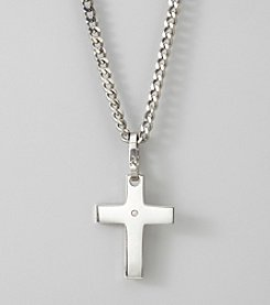 Men's Stainless Steel Diamond Cross Pendant