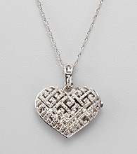 .12 Diamond Sterling Silver Heart Locket