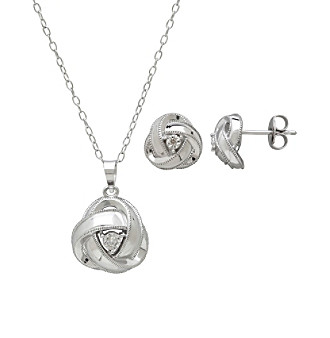 Diamond Accent Love Knot Design Earrings and Pendant Set