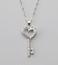 Tiny Diamond Accent and Sterling Silver Key Pendant