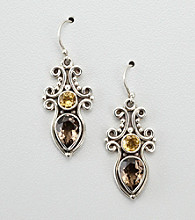 Smoky Quartz and Citrine Sterling Silver Earrings