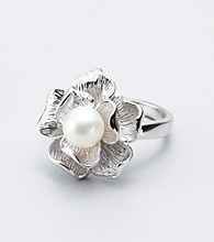 Freshwater Pearl Flower Sterling Silver Ring