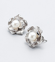 Freshwater Pearl Flower Sterling Silver Earrings
