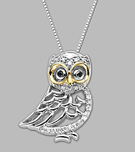 14K Yellow Gold and Sterling Silver Owl Pendant with .114 ct.tw Diamond