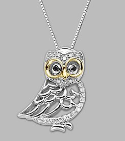 14K Yellow Gold and Sterling Silver with .10 ct. t.w. Diamond Owl Pendant