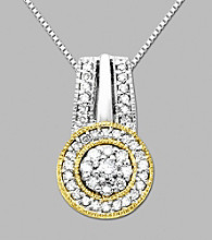 14K Yellow Gold and Sterling Silver Pendant with .32 ct.tw. Diamond