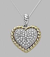14K Yellow Gold and Sterling Silver Heart Pendant with .16 ct.tw. Diamond
