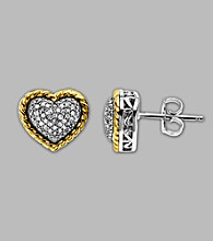 14K Yellow Gold and Sterling Silver Heart Earrings with .20 ct.tw. Diamond