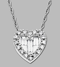 10K White Gold and .15 ct.tw. Diamond Heart Pendant