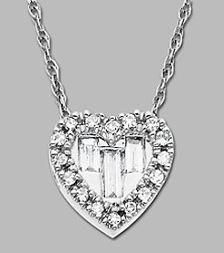 10K White Gold and .15 ct. t.w. Diamond Heart Pendant