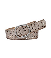 Fossil® Floral Perforated Strap Belt - Silver