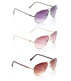 Steve Madden Metal Aviator Stone Detail Sunglasses