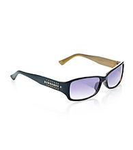 Nine West® Plastic Rectangle Studded Stone Temple Sunglasses - Black