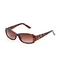 Nine West® Plastic Rectangle Stone Detail Sunglasses - Tortoise