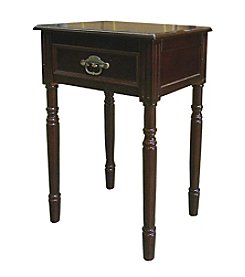 Ore International™ Square Cherry End Table with Drawer