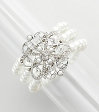 Studio Works® Pearl Three Row Stretch Bracelet with Pave Filigree Brooch