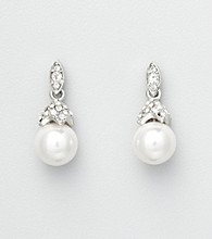 Studio Works® Pearl Drop Earrings with Ornate Pave Post Top