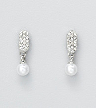 Studio Works® Pearl Drop Earrings with Pave Post Top