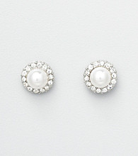 Studio Works® Pearl Pave Button Earrings