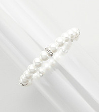 Studio Works® Silvertone & Pearl Single Row Stretch Bracelet with Faceted Rhondelle Accents