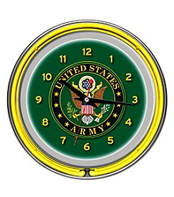 Trademark U.S. Army Eagle Seal Chrome Double Ring Neon Clock