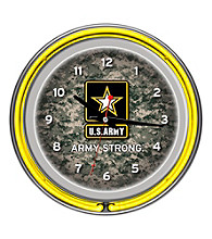 U.S. Army Digital Camo Chrome Double Ring Neon Clock