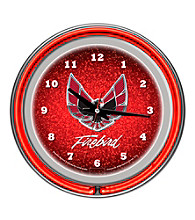 Pontiac Firebird Red Chrome Double Ring Neon Clock