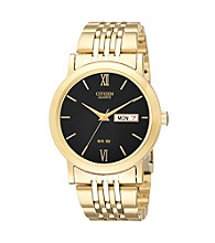 Citizen® Men's Goldtone Watch with Black Dial