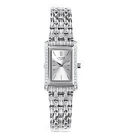 Citizen® Women's Stainless Steel Watch with Silver-Tone and Crystal Accents