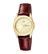 Citizen® Women's Goldtone Watch with Brown Leather Strap