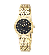 Citizen® Women's Goldtone Watch with Black Dial