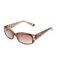 Relativity® Ladies' Plastic Small Mod Rectangle Sunglasses with Etching