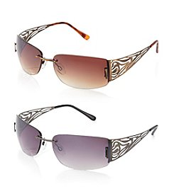Relativity® Metal Rectangle Rimless Sunglasses