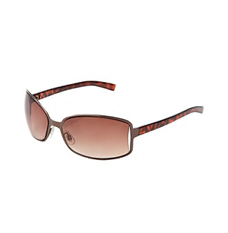 Relativity® Bronze Metal Rectangle Sunglasses