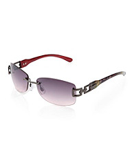 Relativity® Gunmetal/Black Ladies' Medium Rimless Rectangle Sunglasses