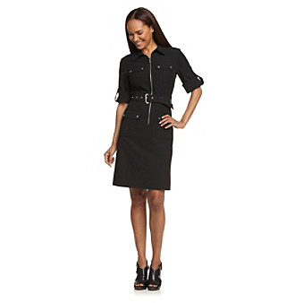 Upc 885949623394 Product Image For Michael Kors Roll Sleeve Belted Black Dress