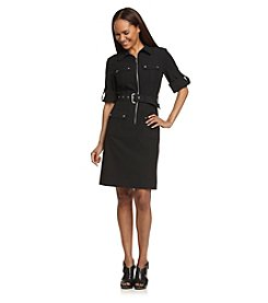 MICHAEL Michael Kors® Roll-Sleeve Belted Black Dress