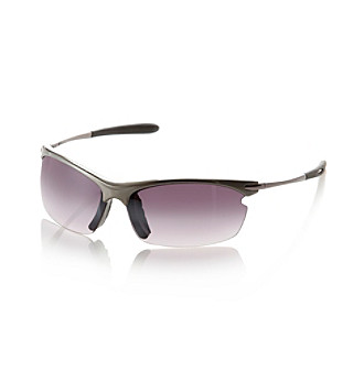 Paradise Collection® Men's Gun-Smoke Semi Rimless Wrap Sunglasses