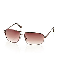 Paradise Collection® Men's Brown Metal Pilot Sunglasses
