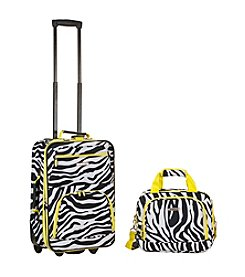 Rockland 2-pc. Lime Zebra Luggage Set