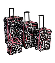 Rockland 4-pc. Pink Giraffe Luggage Set