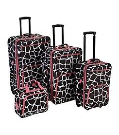 Rockland 4-pc. Pink Giraffe Luggage Set